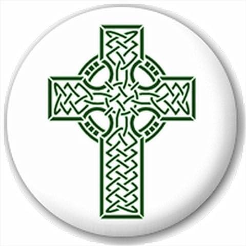 (D Broche) 25mm Pin Broche Bouton Badge: Vert Croix Celtique