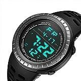 CFGem Digital Deporte Impermeable Reloj de Hombre con PU Banda de Plástico SNK-9688 Negro