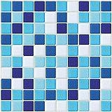 ECOART Selbstklebende 3D Fliesenaufkleber Wasserdicht Selbstklebend für Küche und Bad - 25,4x25,4cm - Mosaik - 6er-Set (Blau und Weiß, 6)