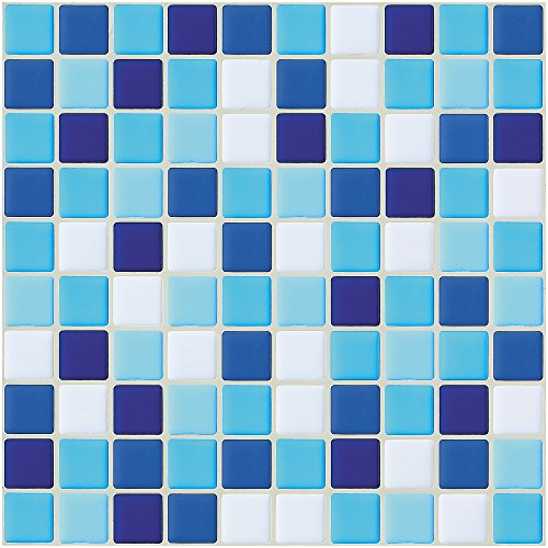"Ecoart Wall Tile Stickers Peel and Stick Self-Adhesive Wall Tile with Mosaic Effect for Kitcheh Bathroom Backsplash Blue White 10"" X 10"" Pack of 6 (3D,Heat Resistant,Waterproof)"