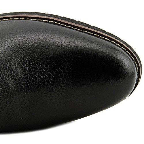 Franco Sarto Chandler Rund Leder Mode-Knie hoch Stiefel Black