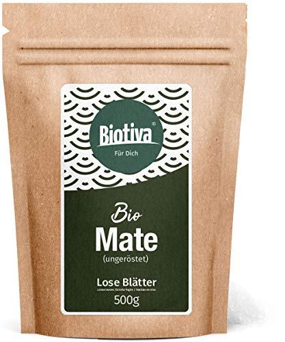 Matetee BIO 500g - ungerösteter grüner Mate Tee - Koffeinhaltige Yerba Mateblätter - Bio-Anbau - Verpackt in Deutschland