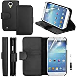 Eagel Tech® Premium Classical Genuine Leather Wallet Flip Case Soft Nubuck Interior Standby Cover with Card Slots Holder for Samsung Galaxy S4 with Free Screen Protector Free Stylus Pen (Black)