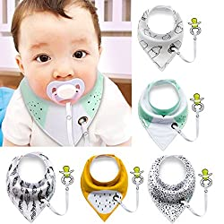 Baby Bibs With Pacifier Clip,ibanana 5 Pack Of Dribble Bibs Stylish Prints Absorbent Cotton Baby Bandana Drool Bibs With Adjustable Snaps & Pacifier Clip(boy)