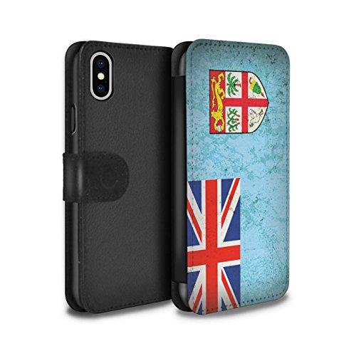 Stuff4 Coque/Etui/Housse Cuir PU Case/Cover pour Apple iPhone X/10 / Vanuatu Design / Drapeau Océanie Collection Fiji/Fijian