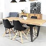 Mesa de comedor madera maciza de tronco de árbol, patas metal   hc33