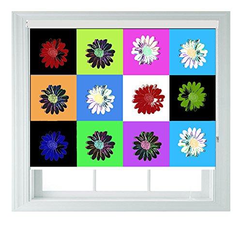Andy Warhol Daisy Blumen Stil Verschiedene Größen Black Out Rollo für Schlafzimmer Badezimmer Küche und Wohnwagen AOA®, 5ft 152cm - Daisy Küche