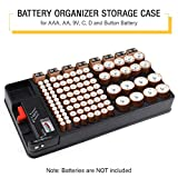 Batteries Storage Box Battery Organizer Storage Case holds 110 Different Size Batteries Slot for AAA, AA, 9V, C, D and Button Battery with Removable Battery Tester by Makerfire