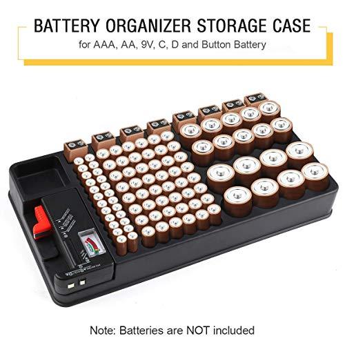 Batterie Aufbewahrungsbox, Batterie-Organizer Box für 110 Batterien unterschiedlicher Größe für AAA-, AA-, 9V-, C-, D- und Knopfbatterien mit austauschbarem Batterietester