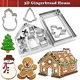 KAISHANE Gingerbread House Maison Cutters Set 3D En Acier Inoxydable Biscuit Gâteau Fondant Cutting Cutter Ustensiles De Cuisson 10 Pièces
