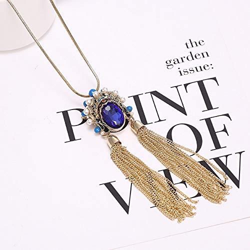 Original Schmuck Vintage chinesischen Stil Kristall Haar ¡Kette Peking Oper Gesicht Blume dan Brosche Halskette Zubehör, blau