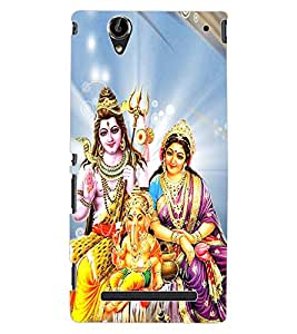 ColourCraft Lords Shiva Parvati and Ganesha Design Back Case Cover for SONY XPERIA T2 ULTRA