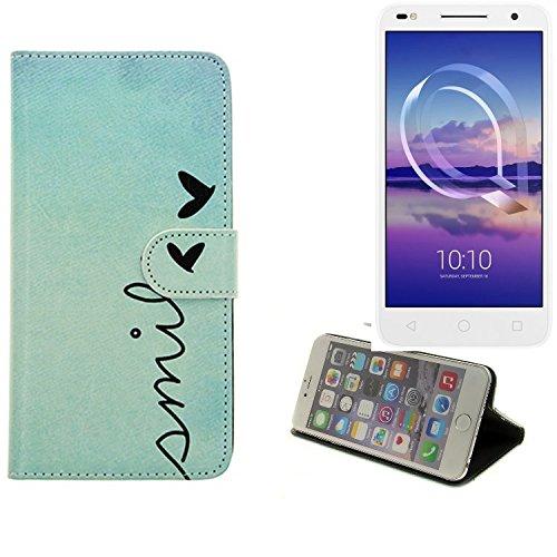 K-S-Trade Für Alcatel U5 HD Dual SIM Hülle Wallet Case Schutzhülle Flip Cover Tasche bookstyle Etui Handyhülle ''Smile'' türkis Standfunktion Kameraschutz (1Stk)