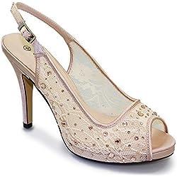 (Lunar) Sapphire - Damen Pumps Elegant Netz Vorne Offen Clutch Bag Mittelhoher Absatz - Hautfarbe (nur Schuhe), EU 36
