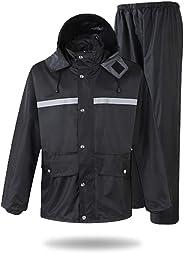 Extaum High Visibility Reflective Rainwear Suit 2 Piece Waterproof Safety Raincoat Lightweight Rain Suit Jacket And Pants Fo