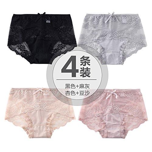 ZHFC-4. sexy spitzen - stoff unterwäsche versuchung transparente keine spur in psoas großen modal baumwolle schritt slips code schwarz, grau - beige bohnenpaste