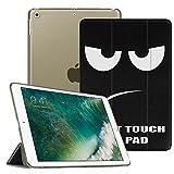 Coque iPad 9.7 2018 / 2017 - Fintie SlimShell Cover Etui Housse avec support ultra-mince et léger avec semi-transparent protecteur et la Fonction Sommeil/Réveil Automatique pour Apple Nouvel iPad 9,7 pouces 2018 / 2017, Don't Touch
