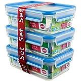 EMSA CLIP&CLOSE Lot 3 boîtes de conservation en plastique rectangulaires, 1L, 100% hermétique et hygiénique, Garantie 30 ans,
