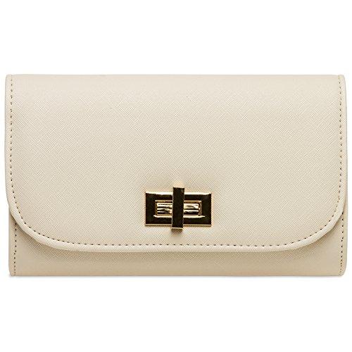 CASPAR TA389 elegante Damen Envelope Clutch Tasche/Abendtasche mit langer Kette und Drehverschluss, Farbe:beige;Größe:One Size -