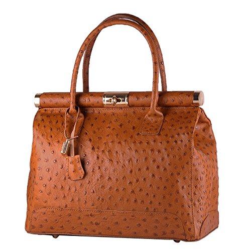 BORDERLINE - 100% Made in Italy - Starre Tasche Frau aus echtem Leder - MARY (Hellbraun) (Straußenleder-tasche)