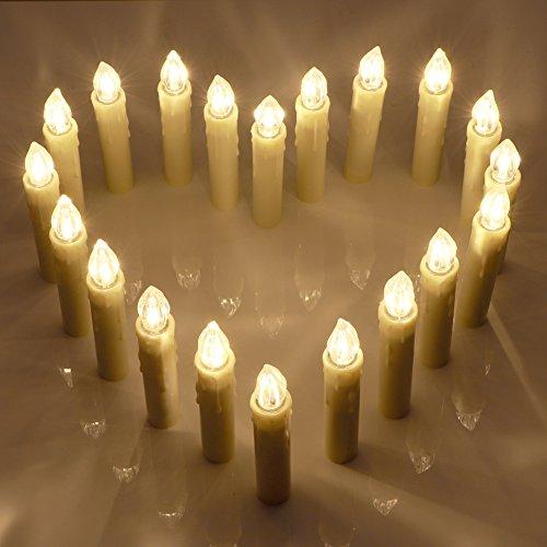 20er LED Kerzen [Upgrade 2016 mit Fernbedienung, Timer und Batterien] Wasserdichte Dimmbar Kerzenlichter Flammenlose Weihnachtskerzen Lichterkette für Weihnachtsbaum, Weihnachtsdeko, Hochzeit, Geburtstags, Party.