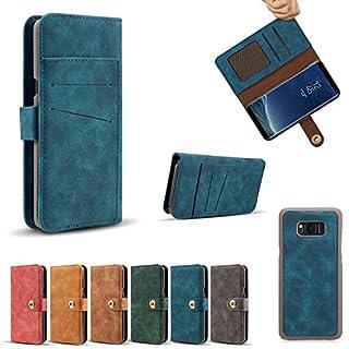 Samsung S8 Hülle,Alfort Samsung S8 Schutzhülle, Retro Ledertasche Flip Lederhülle Premium PU Leder Tasche Cover Wallet Case für Samsung S8 Smartphone mit Standfunktion und Magnetverschluss (Blau)