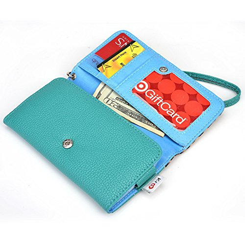 Kroo Étui portefeuille avec étui pour Samsung Galaxy S4/S4 Value Edition multicolore Blue Houndstooth and Blue Emerald Leopard