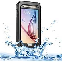 RIYO para Samsung Galaxy S6 G920/IP68 Waterproof Shockproof Dustproof Snowproof Case Cover Funda con soporte interno & Lanyard (Black)