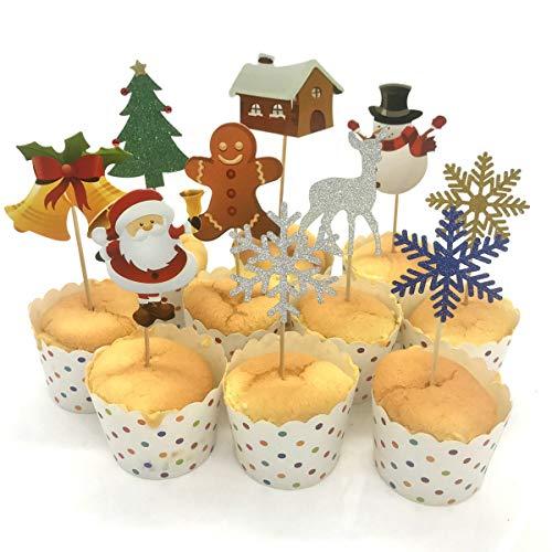 Wokee 10 PCS Weihnachtskuchen Cupcake Lebensmittel Zahnstocher Muffin für die Partei Backen Fotografie