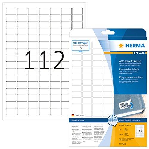 Herma 4211 Etiketten ablösbar, wieder haftend (25,4 x 16,9 mm) weiß, 2.800 Aufkleber, 25 Blatt DIN A4 Papier matt, bedruckbar, selbstklebend, Movables