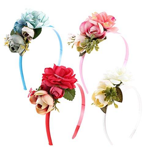 amen Bohemia Blüten Blumen Haarband Stirnband Haarreif Haarschmuck Kopfschmuck Hochzeit Party Deko (Rote Weiße Und Blaue-blumen-stirnband)