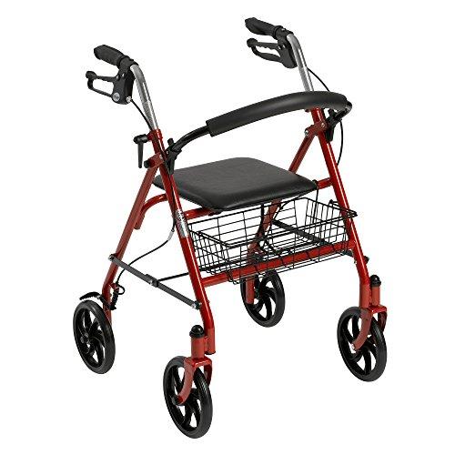 Antriebsreifen Medizinisch Vier Rad Gehhilfe mit Auffalt Entfernbar Back Support, Rot