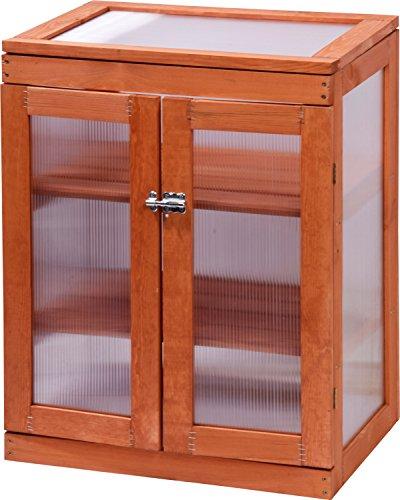 dobar Mini-Gewächshaus mit Acrylglas, Balkon und Indoor-Treibhaus, Holz, braun, 58x43x76 cm, 29167FSC