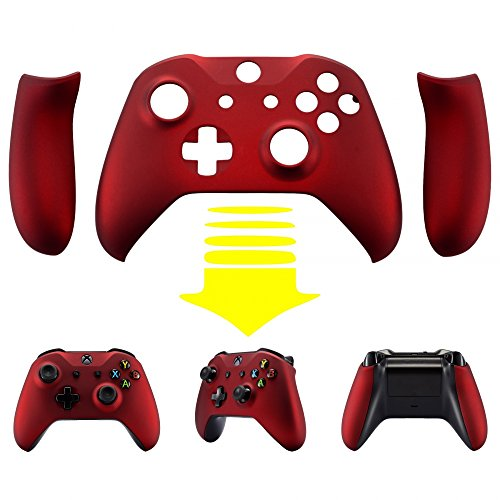 eXtremeRate Soft Touch Red Faceplate Cover, Front Housing Shell,Soft Grip  Back Panels for Xbox One X & One S Controller Model 1708