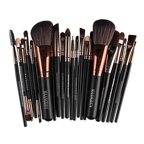 Kit De Pinceau Maquillage, Huoju 22 Pc Professionnels Pinceau De Maquillage Poudre FoundationTrousse Eye - liner Cosmetic Brosse (Café)
