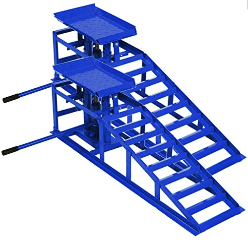 Helo 2X KFZ Auffahrrampe mit Wagenheber hydraulisch 2 T Hebelast (blau), höhenverstellbar (max. 245 mm Reifenbreite), PKW Rampe mit integrierter Wagenheber Hebebühne