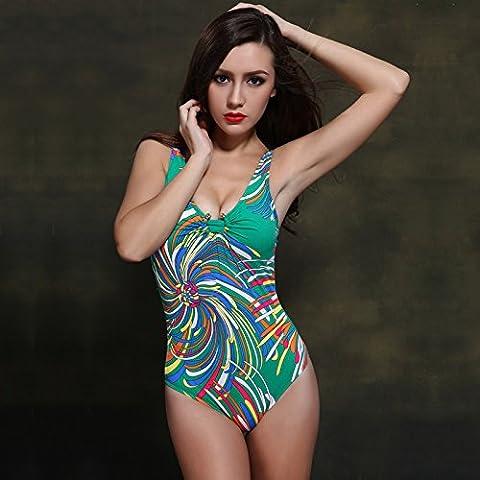 BJN-Europa e il Siamese triangolo di colore donna sexy hot spring costume , verde , 38
