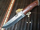 Damasco-Coltello da caccia con fodero in pelle ueberlebensmesser