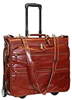 Exclusive Real Cognac Leather Suit Garment Dress Carrier Business Travel Weekend Bag on Wheels A1236
