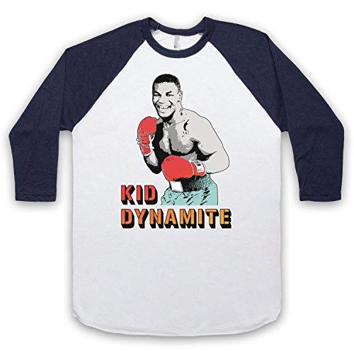 Inspiriert durch Mike Tyson Kid Dynamite Unofficial 3/4 Hulse Retro Baseball T-Shirt Weis & Ultramarinblau