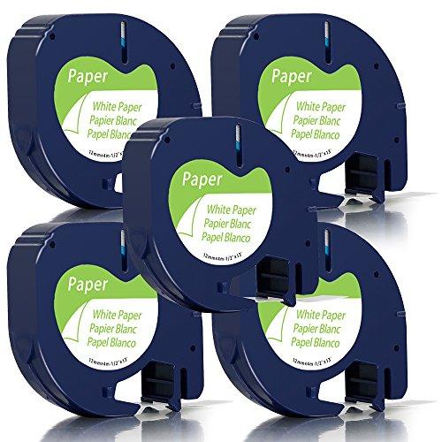 5 x Unistar Papierstoff Etikettierband 91200 für Dymo LetraTag LT-100H lt-100t lt-110t QX 50 XR XM 2000 Plus; schwarz auf weiß 12 mm x 4 m
