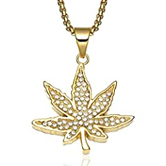 Idea Regalo - Daeou Collana uomo ciondolo foglia in acciaio inox ciondolo collana di diamanti uomo oro