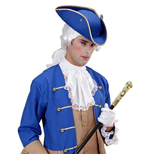 Amakando Piratenhut Dreispitz Offizier Hut blau, Filz Kapitän Kopfbedeckung General Filzhut Piraten Dreispitzhut Seefahrer Faschingshut