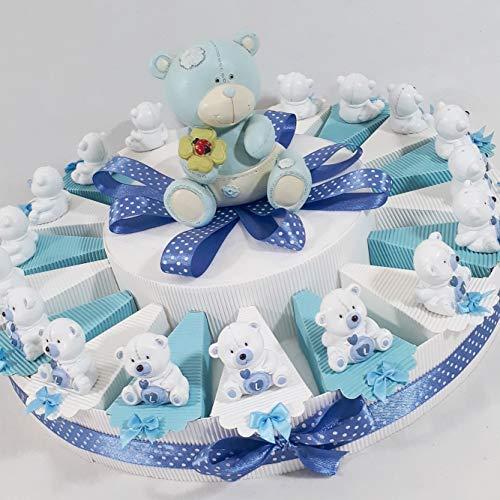 Bomboniere orsetti lello bianchi e celesti battesimo nascita bimbo + centrale salvadanaio *last*