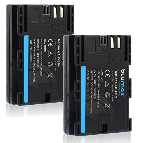 Blumax 2X Akku ersetzt Canon LP-E6N LPE6N (echte 2040mAh) mit Infochip - kompatibel mit XC10 XC15 EOS-R EOS 60D 70D 80D 5D Mark I Mark II Mark III IV 6D Mark I II 7D Mark I II - 60d Canon Kamera