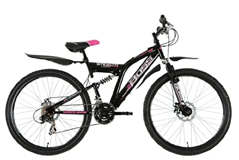Boss Stealth Womens Dual Suspension Bike - Black/Pink, 26 Inch