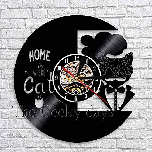 HHYXIN Schallplatte Wanduhr Zuhause Ist, Wo Die Katze Ist Inspirierende Wand Kunst Dekor Uhr Kreative Kitty Vinyl Record 3D Wanduhr Geschenk Für Katzenliebhaber,12 Zoll (Wand-dekor Inspirierende)