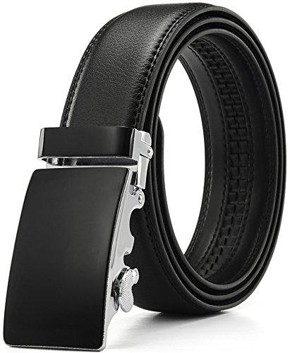 Xhtang-Ledergürtel Herren Automatik Gürtel mit Automatikschließe-3,5cm Breite M - Schwarz - Länge 125cm (Geeignet für 37-43 - Für Taille Gürtel Die