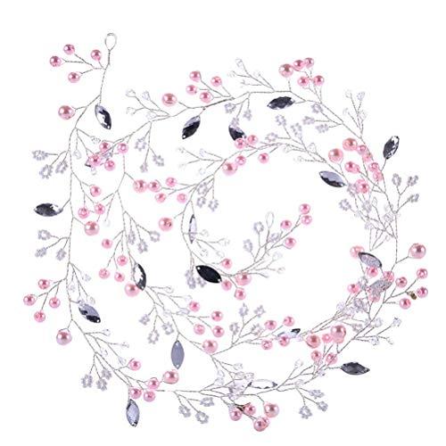 Mode Frauen-Brauthaarband-Rosa-Perlen-Haar-Rebe-Kopfbedeckung Headwear-Hochzeits-Zusätze