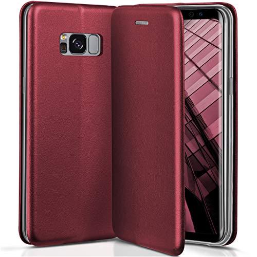 ONEFLOW Samsung Galaxy S8   Hülle Dunkel-Rot mit Karten-Fach 360° Business Klapp-Hülle Handytasche Kunst-Leder Handyhülle für Samsung Galaxy S8 Flip Case Cover Tasche Schutzhülle